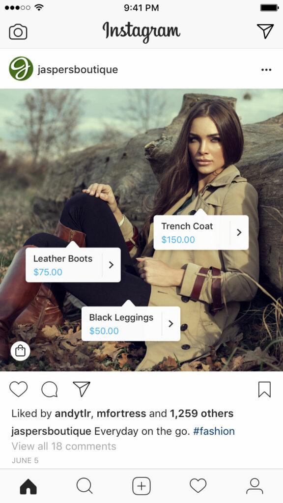 esempio instagram shopping